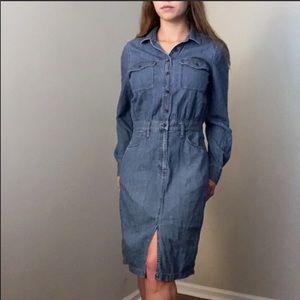 Madewell Denim Long Sleeve Midi Dress Size 10